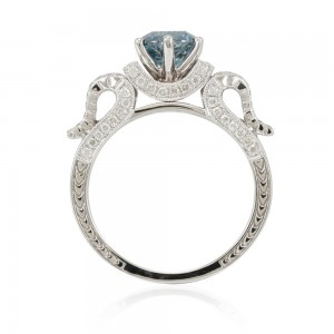 White Gold 1 7/8ct TDW Blue/ White Diamond Bridal Ring - Custom Made By Yaffie™