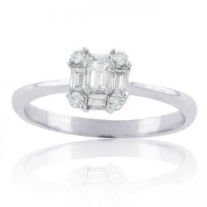 White Gold 2/5ct TDW Diamond Solitaire Cluster Bridal Engagement Ring - Custom Made By Yaffie™
