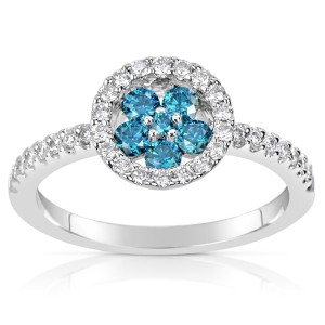 White Gold .61ct TDW Blue and White Diamond Ring - Custom Made By Yaffie™