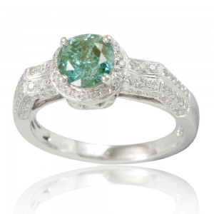 White Gold Green Diamond Royal Engagement Ring - Custom Made By Yaffie™