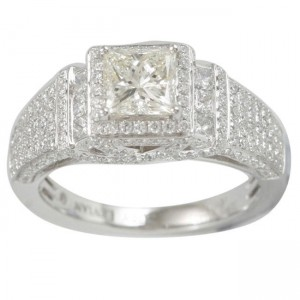 White Gold 2 1/10ct TDW Diamond Halo Engagement Ring - Custom Made By Yaffie™