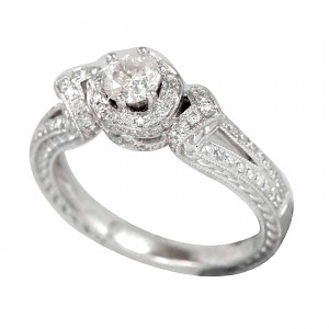 White Gold .788ct TDW Diamond Halo Engagement Ring - Custom Made By Yaffie™