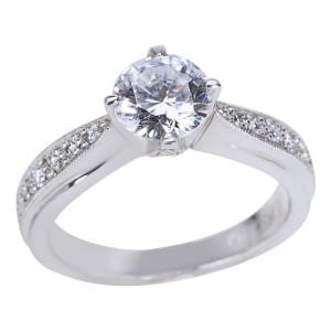 Tacori Platinum 1/5ct TDW Diamond and Cubic Zirconia Engagement Ring - Custom Made By Yaffie™