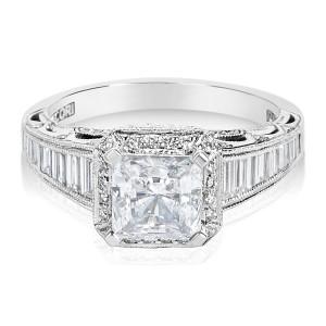 Tacori Platinum 7/8ct TDW Diamond Square-cut CZ Center Engagement Ring - Custom Made By Yaffie™