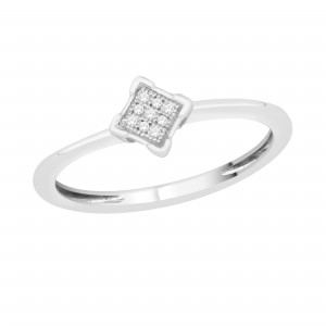 White Gold Diamond Accent Cluster Promise Ring - Custom Made By Yaffie™