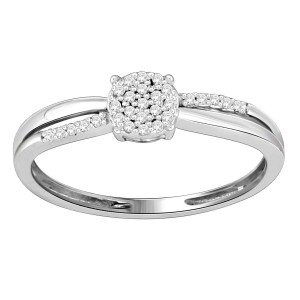 White Gold Diamond Accent Cluster Split-shank Engagement Ring - Custom Made By Yaffie™