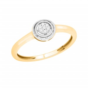 Gold 1/10ct Diamond Cluster Engagement Ring - Custom Made By Yaffie™