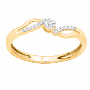 Gold 1/10ct TDW Natural Diamond Bypass Engagement Ring - Custom Made By Yaffie™