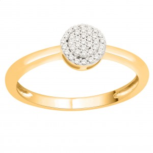 Gold 1/10ct TDW Natural Diamond Cluster Engagement Ring - Custom Made By Yaffie™