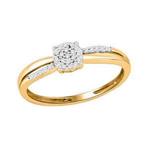 Gold Diamond Accent Cluster Designer Engagement Ring - Custom Made By Yaffie™