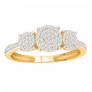 Gold over Silver 1/5ct TDW Diamond Engagement Ring - Custom Made By Yaffie™