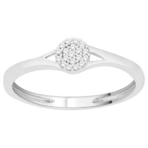 Sterling Silver 1/10ct Diamond Split-shank Cluster Promise Ring - Custom Made By Yaffie™