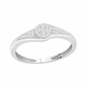 Sterling Silver 1/10ct TDW Diamond Cluster Promise Ring - Custom Made By Yaffie™