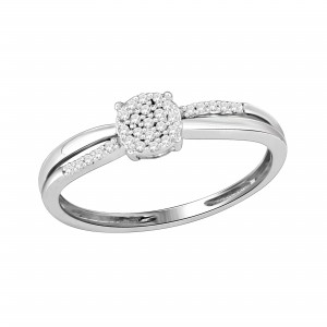 Sterling Silver Diamond Accent Cluster Promise Ring - Custom Made By Yaffie™