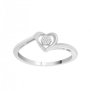 Sterling Silver Diamond Accent Heart Cluster Promise Ring - Custom Made By Yaffie™