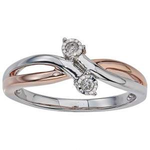 Two-tone Silver Diamond Accent 2-stone Promise Ring by Ever One - Custom Made By Yaffie™