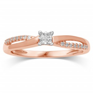 Rose Gold Diamond Promise Ring - Custom Made By Yaffie™