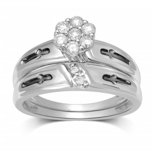 White Gold 1/3ct TDW Diamond Flower Top Bridal Ring - Custom Made By Yaffie™