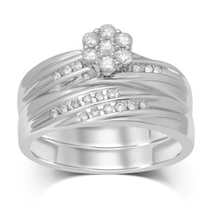 1/3 ct TW 7 RD Flower Top Bridal Ring - Custom Made By Yaffie™