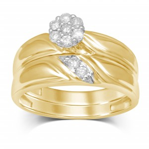 1/4ct TDW Gold Flower Top Bridal Ring - Custom Made By Yaffie™