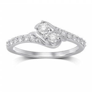 White Gold 1/3ct TW I-J/I2 Diamond 2-stone Fashion Ring - Custom Made By Yaffie™