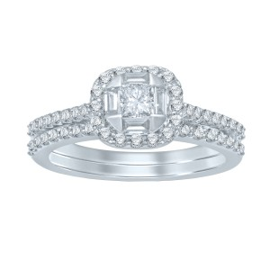 White Gold 1ct TDW Princess Center Diamond Bridal Set - Custom Made By Yaffie™