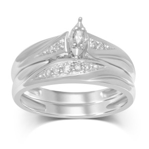 1/6cttw White Gold Marquise Bridal Set - Custom Made By Yaffie™