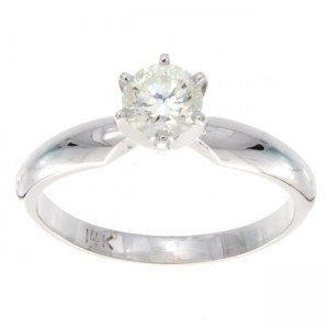 White Gold 1/2ct TDW Diamond Solitaire Engagement Ring - Custom Made By Yaffie™