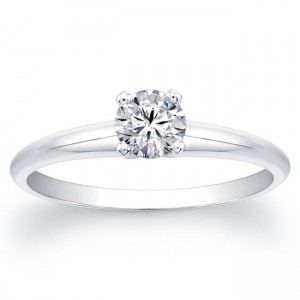 White Gold 3/4ct TDW Round Diamond Solitaire Ring - Custom Made By Yaffie™