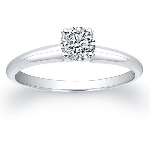 White Gold 3/8ct TDW Certified Diamond Solitaire Engagement Ring - Custom Made By Yaffie™