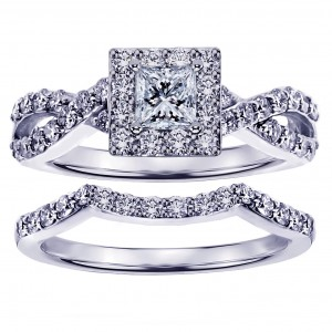White Gold 1 1/6ct Braided Princess-cut Diamond Engagement Wedding Band Set - Custom Made By Yaffie™