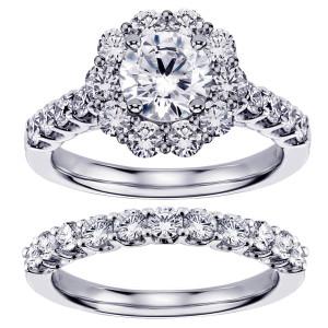 White Gold 2 7/8ct TDW Diamond Brilliant-cut Halo Engagement Bridal Set - Custom Made By Yaffie™
