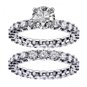 White Gold 4.5ct TDW Round Diamond Clarity Enhanced Bridal Ring Set - Custom Made By Yaffie™