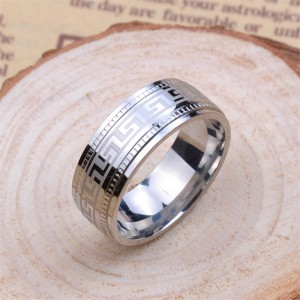 Personalised Men's Polished Eternal Greek Key Tungsten Ring - Custom Made By Yaffie™