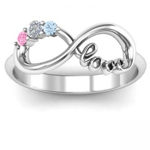 Personalised Customised Infinity Promise Ring With Birthstone Infinity Love Ring - Custom Made By Yaffie™