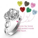 Personalised Encased in Love Caged Hearts Ring with Infinity Band - Custom Made By Yaffie™