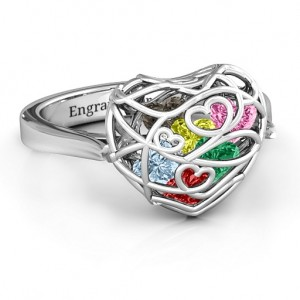 Personalised Encased in Love Caged Hearts Ring with Ski Tip Band - Custom Made By Yaffie™