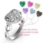 Personalised Butterfly Caged Hearts Ring with Infinity Band - Custom Made By Yaffie™