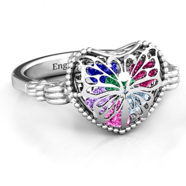 Personalised Butterfly Caged Hearts Ring with Butterfly Wings Band - Custom Made By Yaffie™