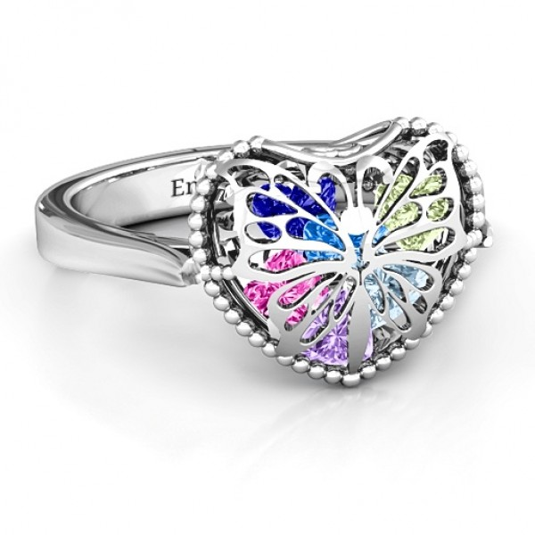 Personalised Butterfly Caged Hearts Ring with Ski Tip Band - Custom Made By Yaffie™