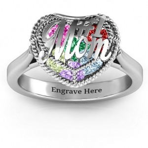 Personalised #1 Mom Caged Hearts Ring with Ski Tip Band - Custom Made By Yaffie™