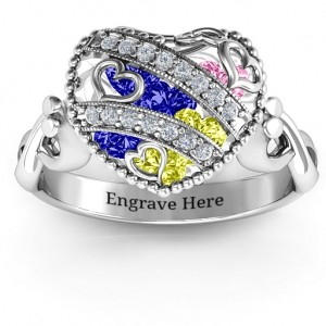 Personalised Sparkling Hearts Caged Hearts Ring with Infinity Band - Custom Made By Yaffie™