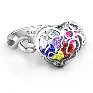 Personalised Mother and Child Caged Hearts Ring with Infinity Band - Custom Made By Yaffie™