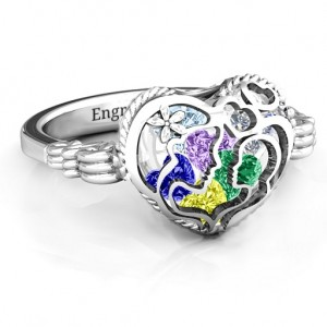 Personalised Mother and Child Caged Hearts Ring with Butterfly Wings Band - Custom Made By Yaffie™