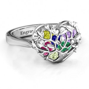 Personalised Family Tree Caged Hearts Ring with Ski Tip Band - Custom Made By Yaffie™