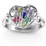 Personalised Mum heart Caged Hearts Ring with Infinity Band - Custom Made By Yaffie™