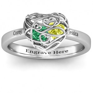 Personalised Encased in Love Petite Caged Hearts Ring with Classic Band - Custom Made By Yaffie™