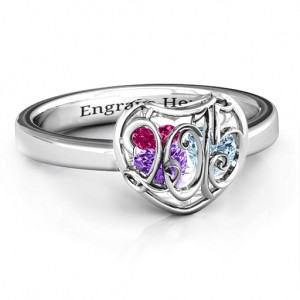 Personalised 2015 Petite Caged Hearts Ring with Classic Band - Custom Made By Yaffie™