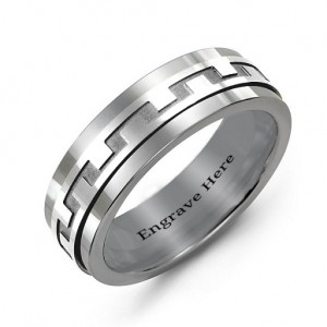 Personalised Mens Detailed Modern Tungsten Band Ring - Custom Made By Yaffie™