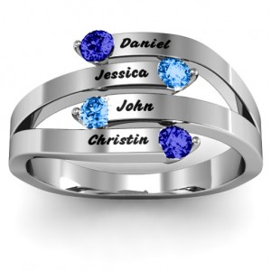 Personalised Connection Interwoven Stones Ring - Custom Made By Yaffie™